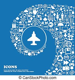 Aircraft or Airplane Icon . Nice set of beautiful icons twisted spiral into the center of one large icon. Vector