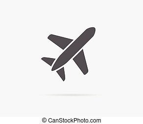 Aircraft or Airplane Icon Vector Silhouette