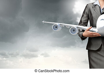 Aircraft or business travel concept . Mixed media