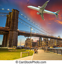 Aircraft over New York City - Tourism and vacation concept