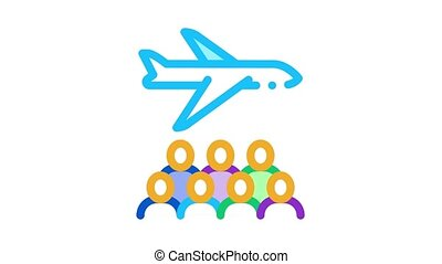 aircraft passengers Icon Animation. color aircraft passengers animated icon on white background