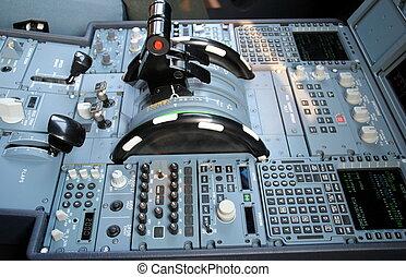 Aircraft Pedestal - Pedestal and throttle quadrant of a...