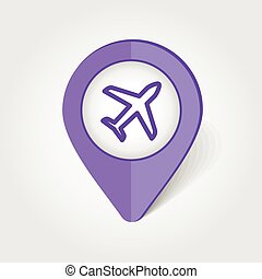 Aircraft, Plane, Airplane map pin icon, map pointer, vector...