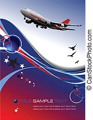 Aircraft poster with passenger airplane image. Vector...