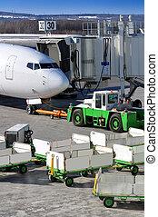 Aircraft prepares for departure