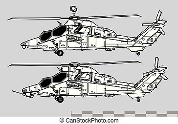 Aircraft profiles. Outline vector drawing