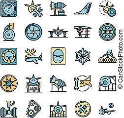 Aircraft repair icons set vector flat