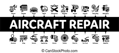 Aircraft Repair Tool Minimal Infographic Web Banner Vector. Aircraft Engine And Chassis, Helicopter And Airplane, Master And Hangar Concept Illustrations