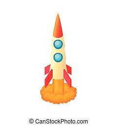 Aircraft rocket icon, cartoon style
