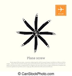 Aircraft screw in flat style. Airplane propeller on white background. Airscrew with eight  blades