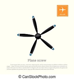 Aircraft screw in flat style. Airplane propeller on white background. Airscrew with five blades