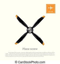 Aircraft screw in flat style. Airplane propeller on white background. Airscrew with four blades