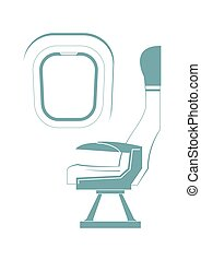 Aircraft seat and porthole isolated on background. Vector ...
