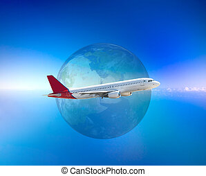 Aircraft - Several aircraftes in blue sky