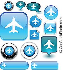 Aircraft signs. - Aircraft vector glossy icons.
