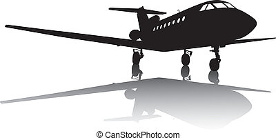 Private jet plane silhouette with reflection. Separate layers