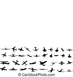 aircraft silhouettes - miltary, passenger, propeller and...