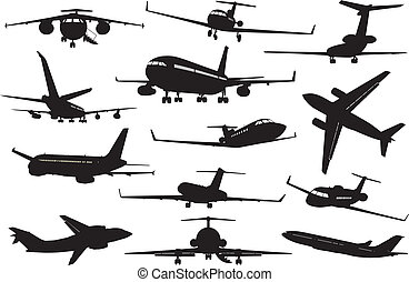 Aircraft silhouettes set - Aircrafts detailed silhouettes...