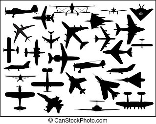 Aircraft silhouettes - Various silhouettes of civil and...