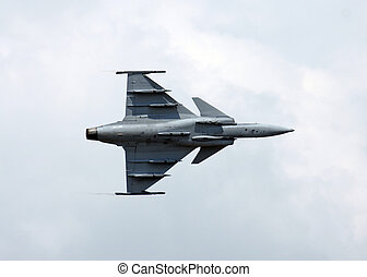 Aircraft - The jetfighter Gripen in flight