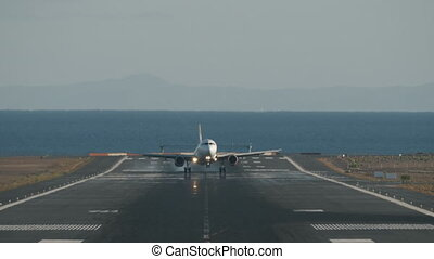 Aircraft successful landing on runway overlooking sea