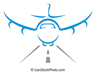 Aircraft symbol - Illustration of landing plane isolated on...
