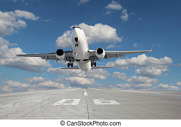 Aircraft taking off - Impressive view of the aircraft taking...