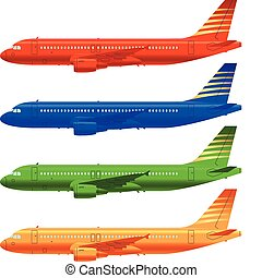 aircraft template - color aircraft technical drawings in...