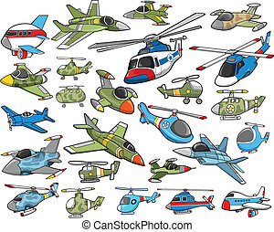 Aircraft Transportation Vector Set