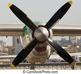 Aircraft turboprop engine - Front view aircraft turboprop...