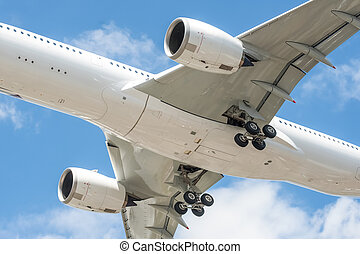 aircraft undercarriage - closeup of a large passenger...