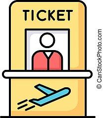 aircraft., vector, boleto, checkout., salida, cheque, abroad...