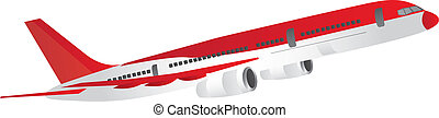 aircraft - red and white aircraft isolated over white...