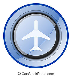 Aircraft vector icon. Airplane blue glossy web symbol. Plane sign.