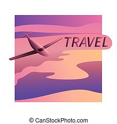 Aircraft vector, take-off plane against the background of the sunset sky, with space for text. Jet commercial airplane in full face. Air travel concept flying airliner. Vector illustration