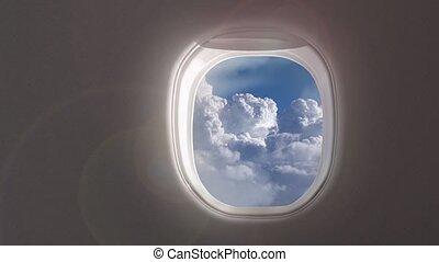 aircraft., vue, vidéo, intérieur, ciel, 4k, aérien, fenêtre ...