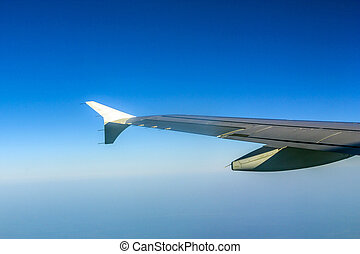 Aircraft wing some component of plane on during flying high...