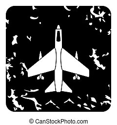Aircraft with missiles icon, grunge style