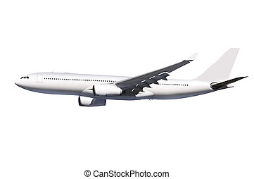aircraft with path - commercial airplane on white background...