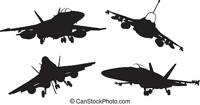 Aircrafts - Military aircraft silhouettes collection. Vector...