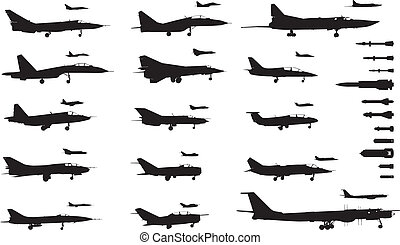 High detailed soviet military aircrafts and weapon set. Vector silhouettes