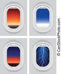 Aircraft's Porthole - Layered vector illustration of...