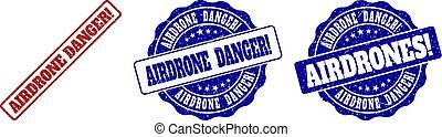 AIRDRONE DANGER! Grunge Stamp Seals
