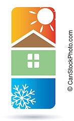 aire acondicionado, casa, vector