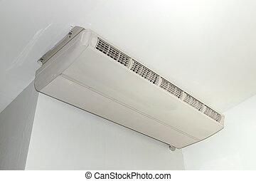 aire acondicionado, colgado, en, el, techo