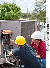 aire acondicionado, reparación, -, trabajo en equipo