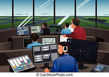 aire, aeropuerto, controlador, trabajando, tráfico