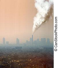aire, atmosférico, fábrica, contaminación