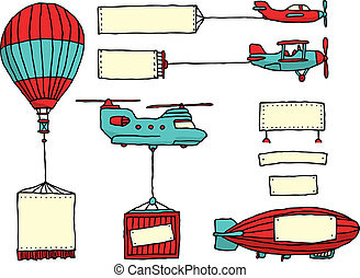 aire, banderas, conjunto, caricatura, vehículos