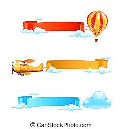 aire, banderas, vector